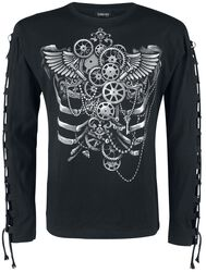 Long sleeve shirt with front print and lacing on the sleeves