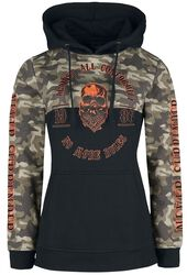 Black Hoodie with Camouflage Pattern and Coloured Details