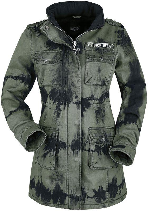 Green Winter Jacket with Batik Wash