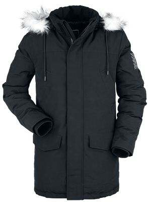 Black Winter Jacket with Faux Fur Collar