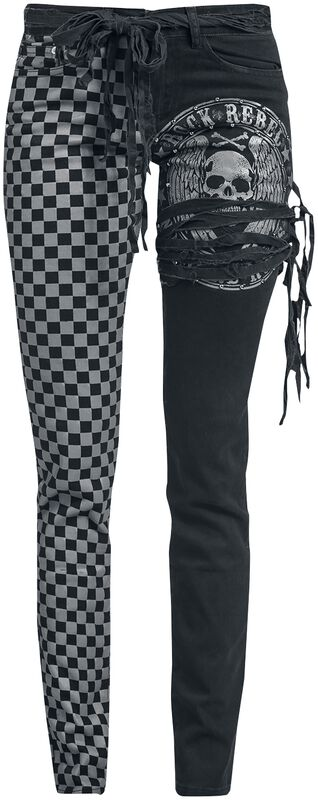 Skarlett - Black/Grey Jeans with Print and Lacing