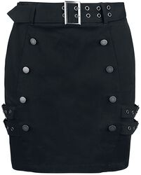 Black Mini Skirt with Double Button Placket and Buckles