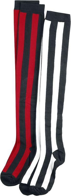 Striped Overknee, 2-pak
