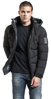 Black Puffer Jacket with Removable Hood
