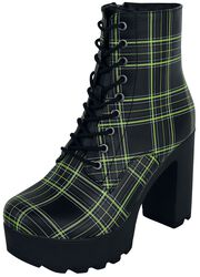 Black Boots with Platform Sole and Checked Pattern