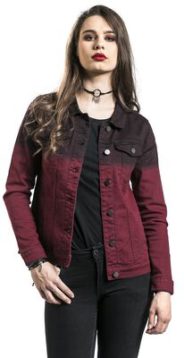 Red denim jacket with colour transition