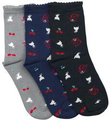 Cherry Logos & Cats sokker, 3-pak