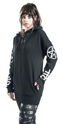 Black hoodie with symbol prints