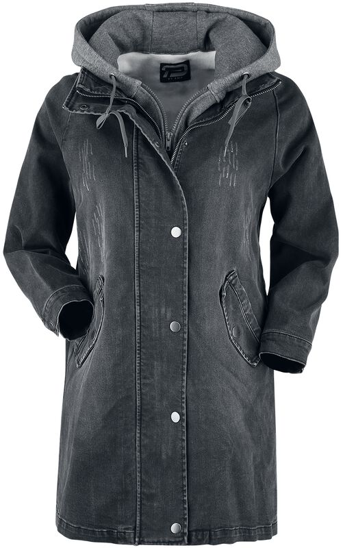 Black Denim Jacket with Sweat Hood