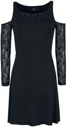 Black Cold-Shoulder Dress with Lace Sleeves