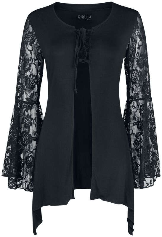 Black Cardigan with Flared Lace Sleeves