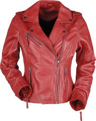 Red læder-bikerjakke