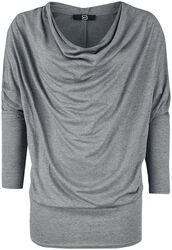 Long sleeve shirt with waterfall collar