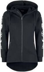 Black Hooded Jacket with Sleeve Print