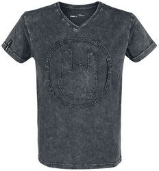 Grey T-shirt with Wash and Rockhand Appliqué
