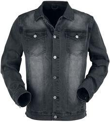 Mørkegrå jakke med brystlommer og knapper