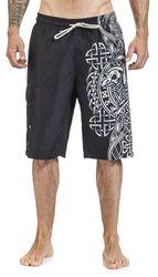 Black Swim Shorts with Celtic-Style Raven Print