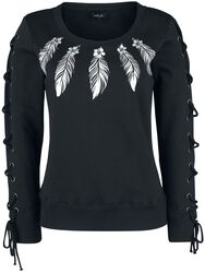 Sweatshirt mit Print und Schnürung
