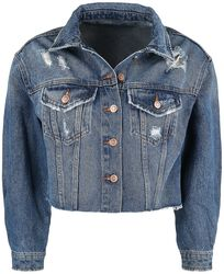 Blue Denim Jacket with Distressed Effects