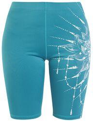 Sport und Yoga - Türkise kurze Leggings mit detailreichem Print