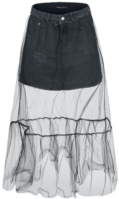 Denim Skirt With Tulle Layer