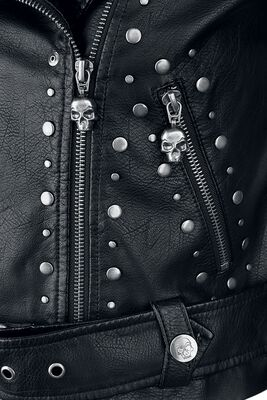 Black faux leather jacket with studs