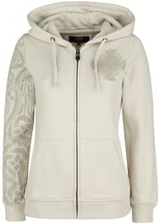 Beige Hooded Jacket with Celtic-Style Print