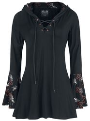 Gothicana X Anne Stokes - Black Long-Sleeve Top with Lacing, Print and Large Hood
