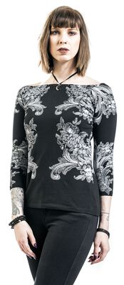 Shirt with boatneck and print