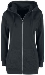 Black Hooded Jacket with Lace and Lacing