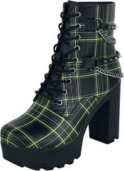 Black Ankle Boots with Pattern, Straps and Chains