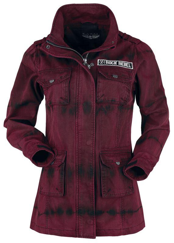 Red/Black Long Between-Seasons Jacket with Wash