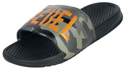 Black Slip-Ons with Camouflage Pattern and Bright Lettering