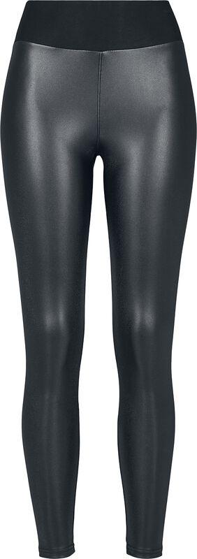 Kunstlæder leggings, høj talje
