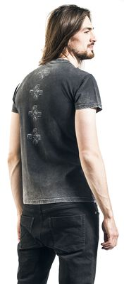 Grey T-shirt with Wash, Print and Button Placket