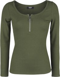 Olive Long-Sleeve shirt with Zip at Neckline