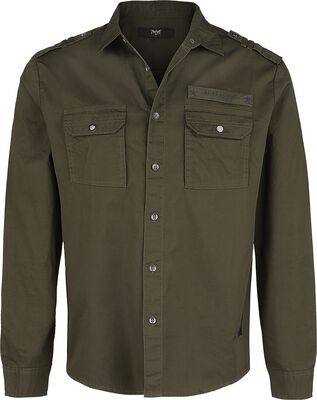 Olive Shirt with Chest Pockets in Military Style
