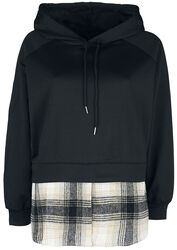 Pullover Hoodie With Check Undershirt