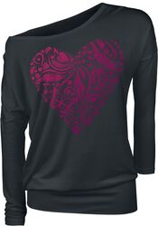 Black Long-Sleeve Top with Print and Crew Neckline