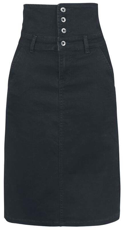 Højtaljet Denim-nederdel