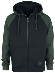 Black/Green Hoodie with Raglan Sleeves