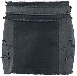 Rock Rebel Short Denim Patch Skirt