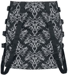 Gothicana X Anne Stokes - Black Mini Skirt with Pattern and Straps