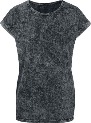 Ladies Acid Washed Extended Shoulder Tee