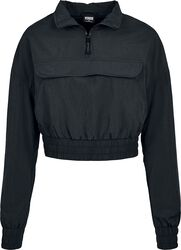 Ladies Cropped Crinkle Nylon Pull Over