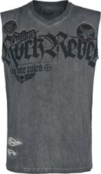 Grey Tank Top with Wash and Print