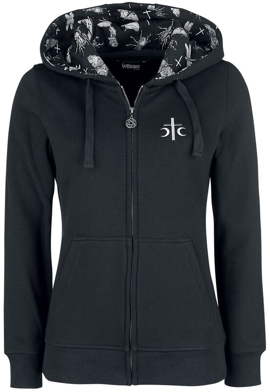 Black Hoodie with Print on the Back and Hood