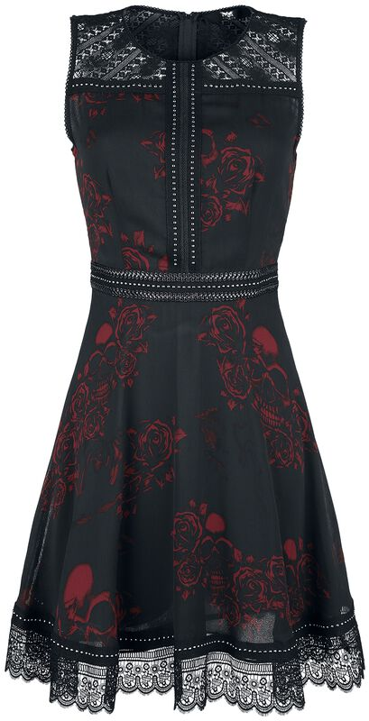 Black Dress with All-Over Print, Studs and Lace Details
