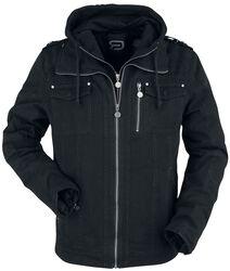 Black between-seasons jacket with inserted hood