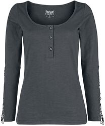 Grey Long-Sleeve with Button Placket and Decorative Stitching